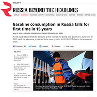 Gasoline consumption in Russia falls for first time in 15 years
